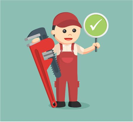 plumber holding true sign and giant pipe wrench