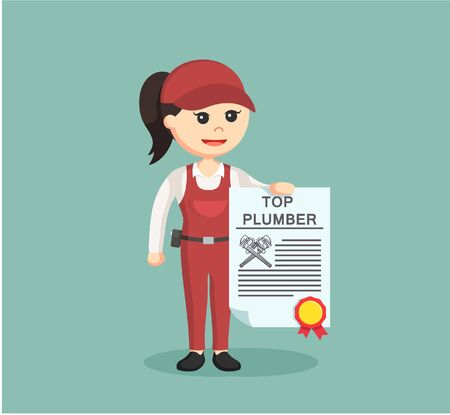 handywoman: female plumber holding top plumber certificate Illustration