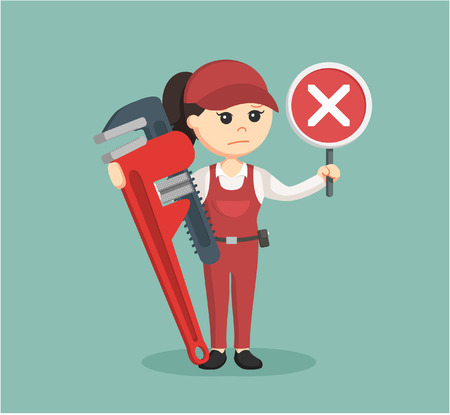 sullen: female plumber holding false sign and giant pipe wrench