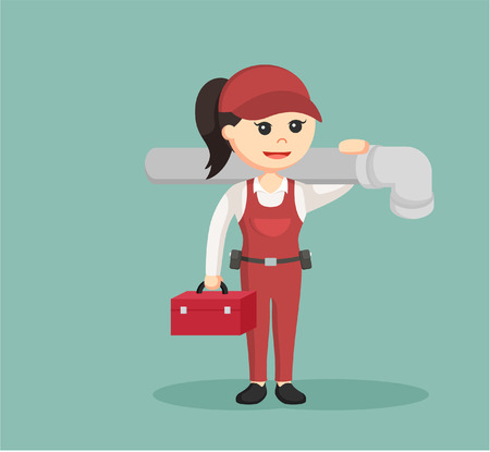 handywoman: female plumber holding tool box and giant pipe
