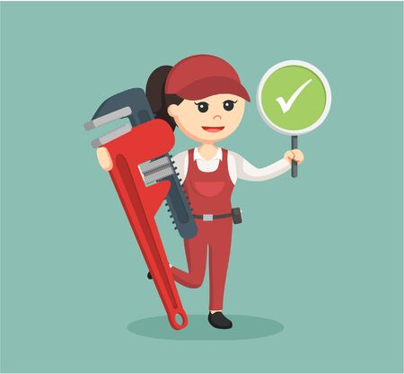 handywoman: female plumber holding true sign and giant pipe wrench
