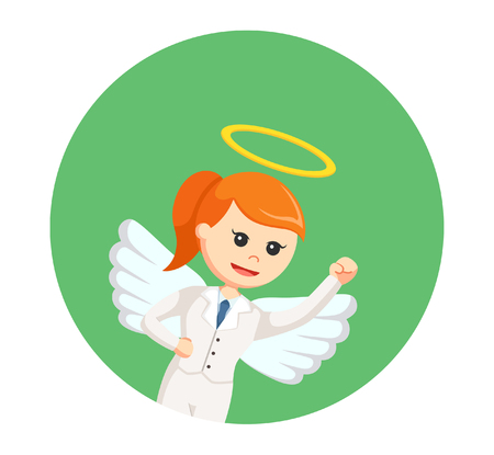a righteous person: angel businesswoman flying in circle background Illustration