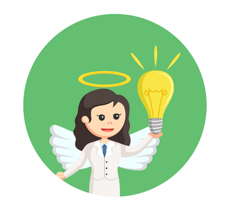 angel businesswoman with idea in circle background Illustration