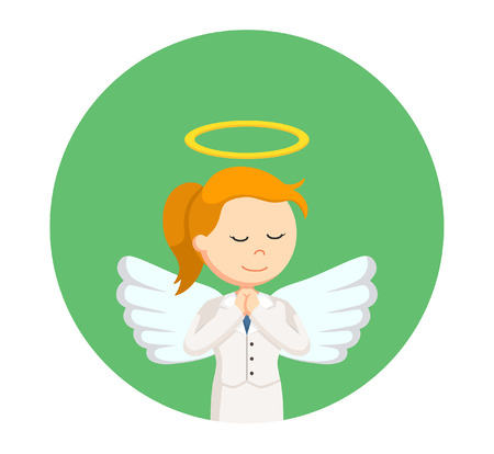 angel businesswoman praying in circle background