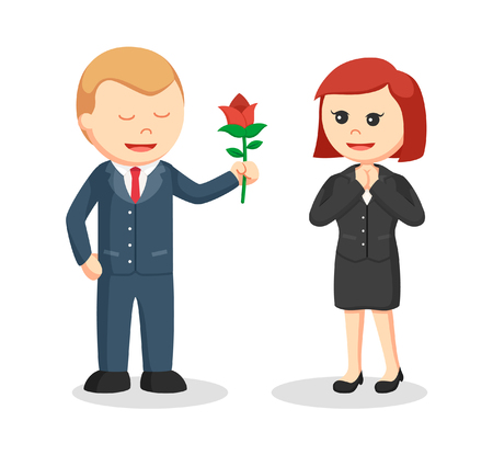 beauty smile: businessman giving flower to businesswoman Illustration