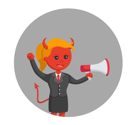 devil businesswoman with megaphone in circle background