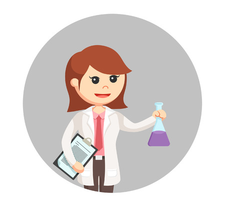 Woman scientist with clipboard and test tube in circle background