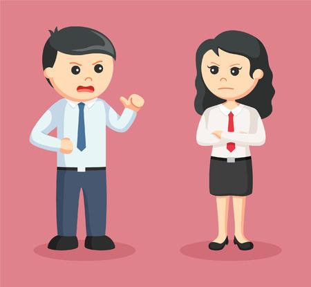 woman business suit: business couple arguing illustration design Illustration