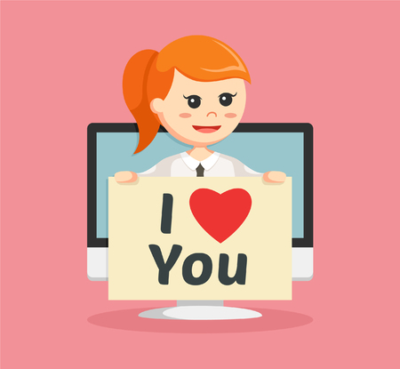 heart monitor: businesswoman with love message pc pop up Illustration