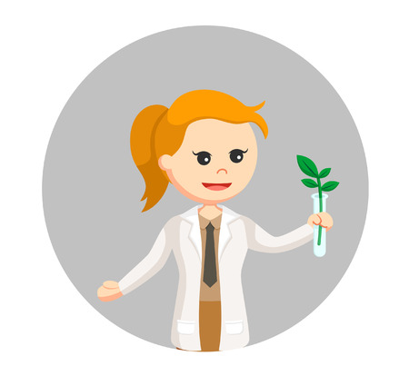 woman scientist experiment with plant in circle background Illustration