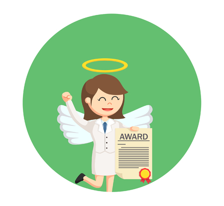 angel businesswoman with certificate award in circle background
