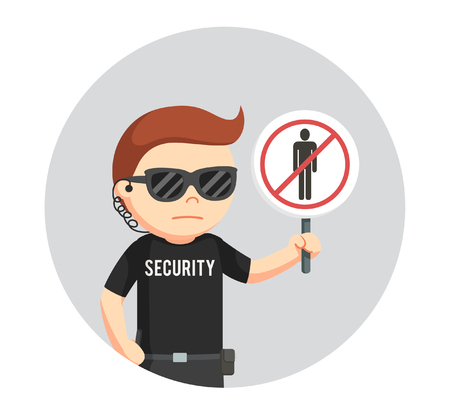 security guard with forbidden pass sign in circle background Illustration