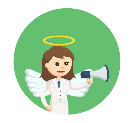 angel businesswoman with megaphone in circle background Illustration