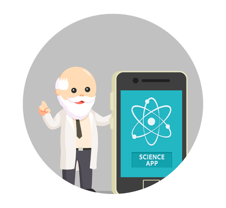 fat man scientist with science app in circle background