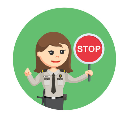 mujer policia: security officer woman with stop sign in circle background