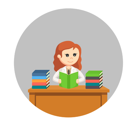 woman scientist reading books in circle background