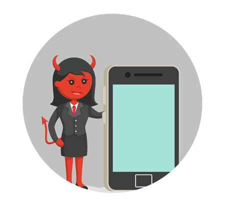 pointed arm: Devil businesswoman with big smartphone in circle background
