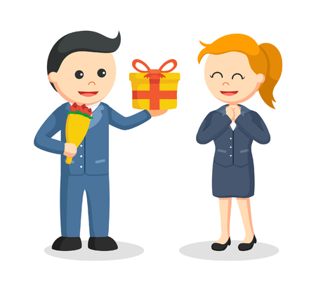 businessman giving flowers and gift to businesswoman Illustration