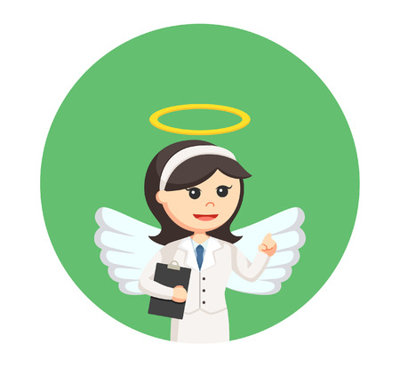 righteous: angel businesswoman with clipboard in circle background