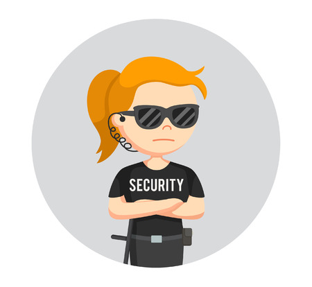 security guard woman standing pose in circle background