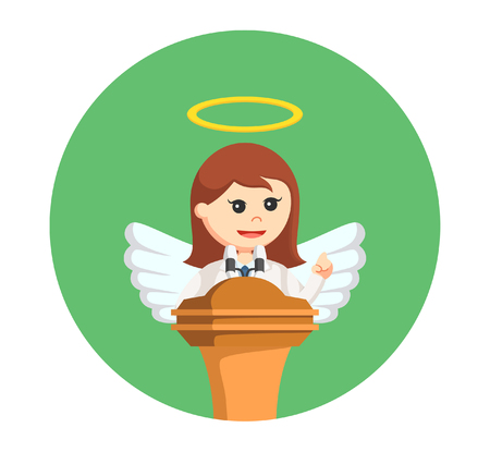 angel businesswoman giving speech in circle background Illustration