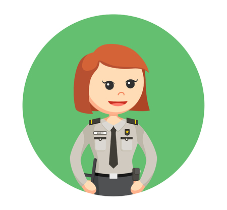 woman pose: security officer woman standing pose in circle background Illustration