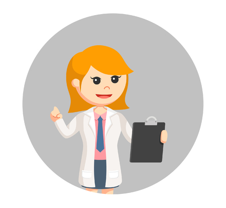 woman scientist with clipboard in circle background