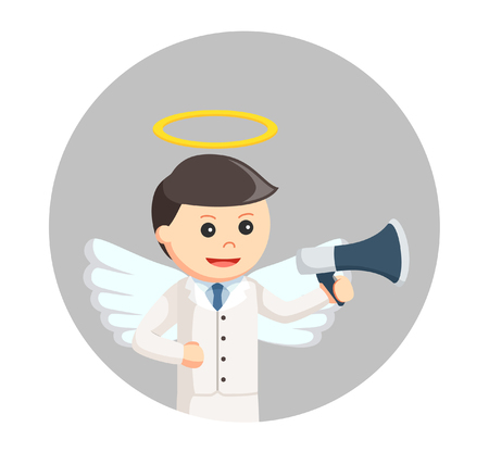 angel businessman with megaphone in circle background