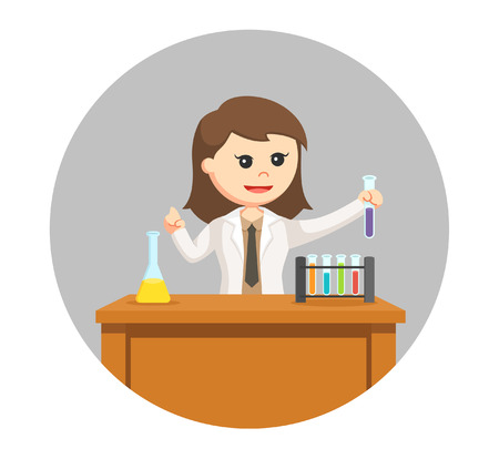 woman scientist creating new formula in circle background Illustration
