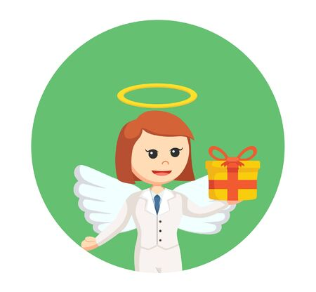 a righteous person: businesswoman angel with gift box in circle background