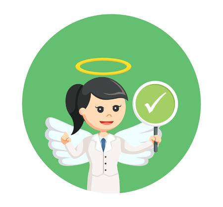 angel businesswoman with checklist sign in circle background