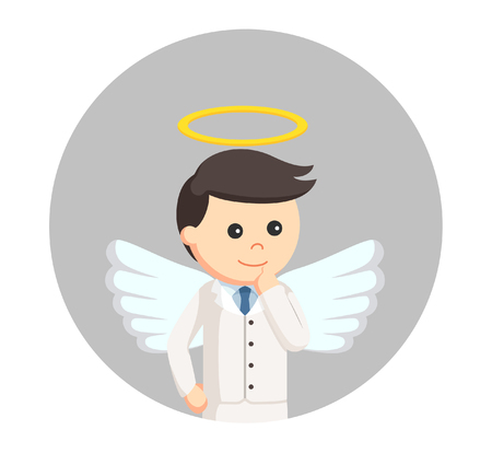 angel businessman in circle background