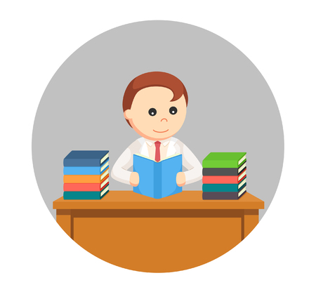 man scientist reading books in circle background