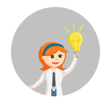 woman scientist with bulb idea in circle background Illustration
