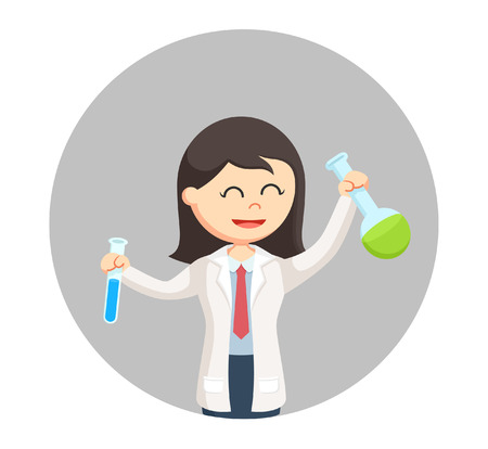 woman scientist holding two test tubes in circle background