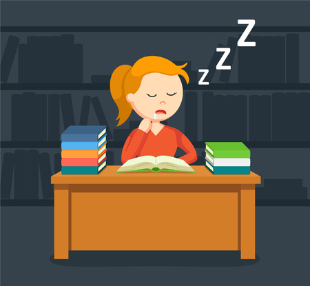 student book: female student sleeping while reading a book Illustration