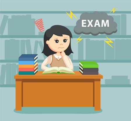 female student worrying about her exam Illustration