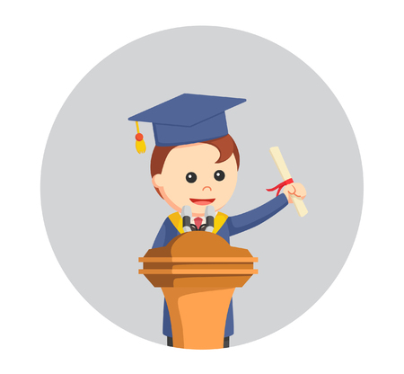 adult education: graduate male student giving speech in circle backgroundacademic, achievement, adult, background, blue, cap, cartoon, ceremony, certificate, cheerful, circle, college, converse, degree, design, diploma, dress, education, flat, giving, gown, graduate, grad
