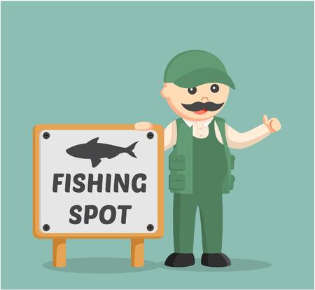 beside: fat fisherman standing beside fishing spot sign