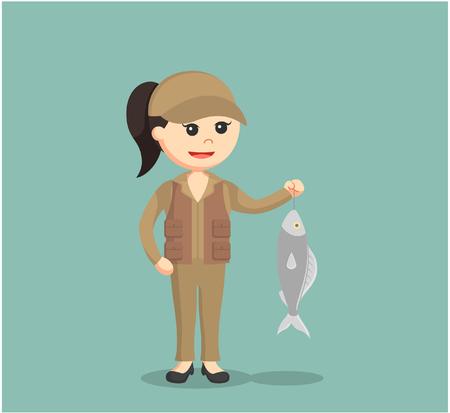 Femme pêcheur tenant du poisson