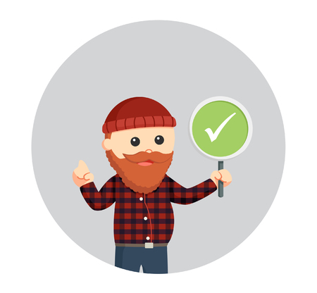fat lumberjack with checklist sign in circle background