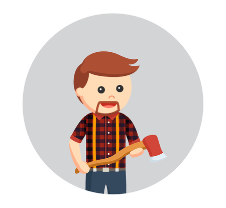 lumberjack with axe in circle background