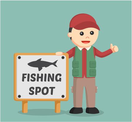 beside: fisherman standing beside fishing spot sign Illustration