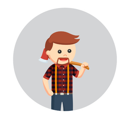 lumberjack carrying axe on his shoulder in circle background