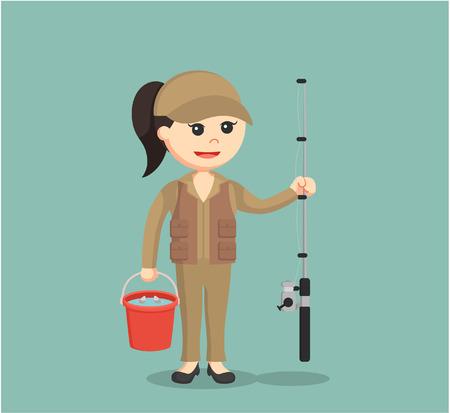femme pêcheur tenant un seau plein de poisson