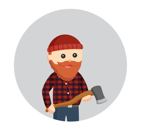 fat lumberjack with axe in circle background