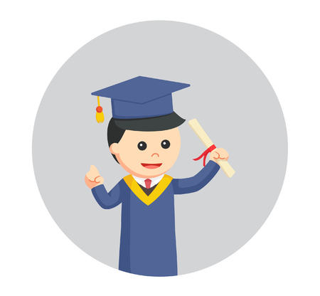 graduate male student holding diploma in circle background