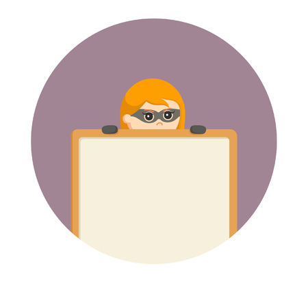 woman thief peek from behind empty board in circle background Illustration