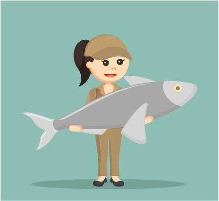 fisher woman holding giant fish Illustration