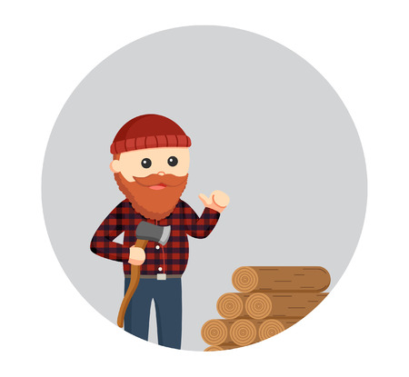 fat lumberjack with woods logs in circle background